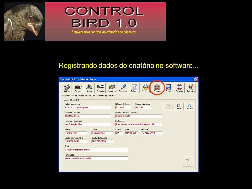 Registrando dados do criatório no software...