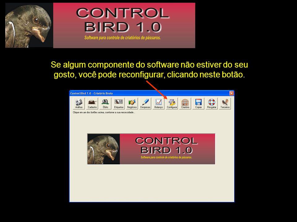 Todos os dados do seu plantel, como nº de registro no IBAMA, nome do criatório, etc, podem ser registrados para serem utilizados pelo software.