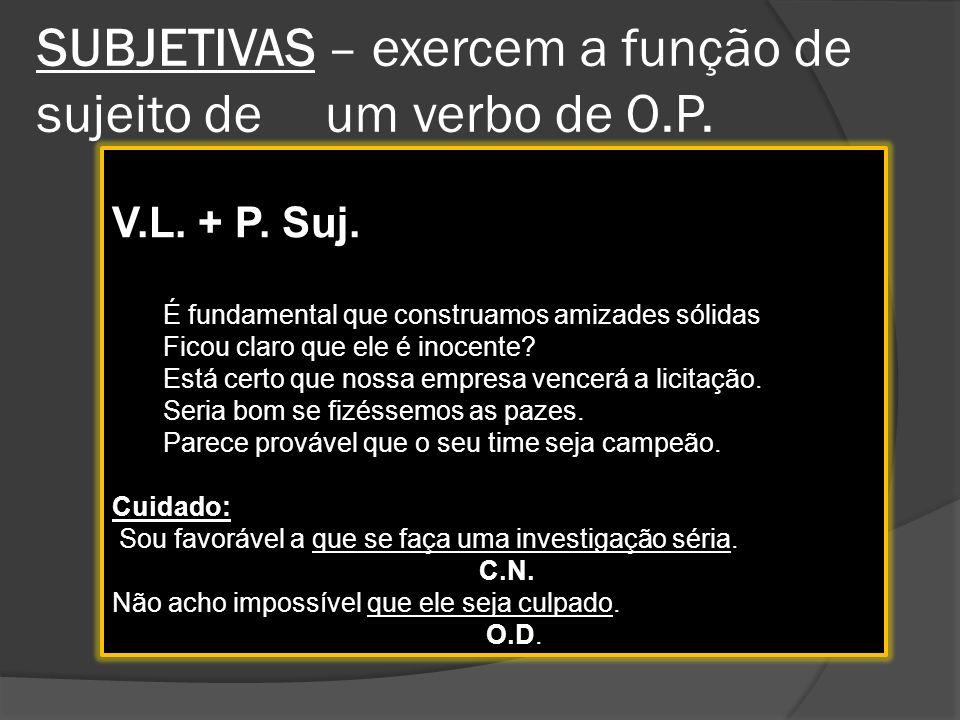 ORAÇÕES SUBORDINADAS SUBSTANTIVAS REDUZIDAS Não vêm introduzidas por conjunção; O verbo deve estar no infinitivo.