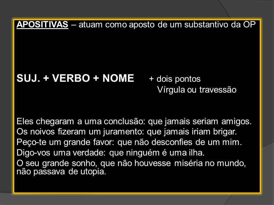 3. COMPLETIVAS NOMINAIS – Atuam como complemento de um nome da O.P. Suj. + Verbo + Nome + preposição Tenho esperança de que tudo se resolva. Tive a se