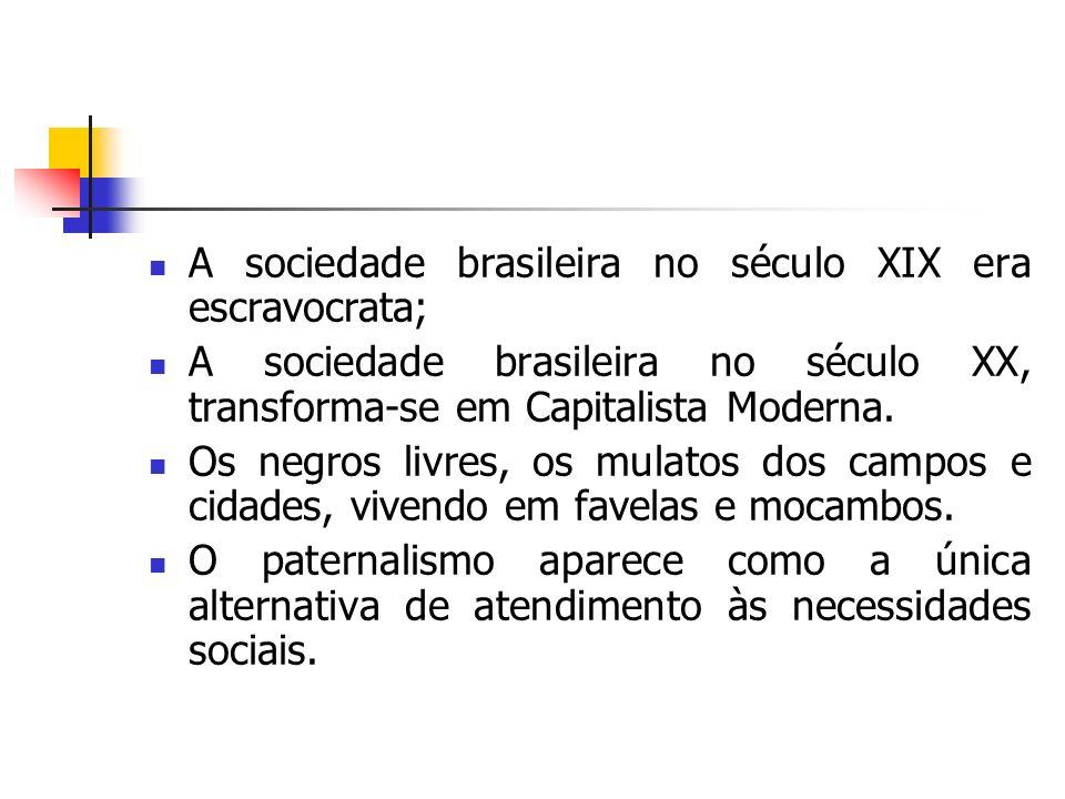 A sociedade brasileira no século XIX era escravocrata; A sociedade brasileira no século XX, transforma-se em Capitalista Moderna. Os negros livres, os