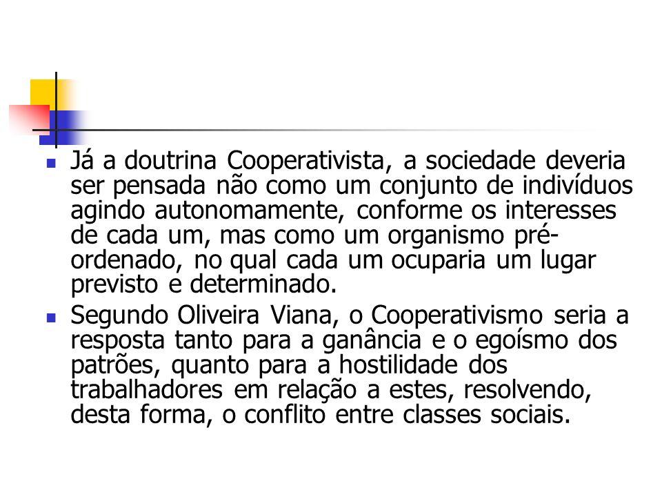 Já a doutrina Cooperativista, a sociedade deveria ser pensada não como um conjunto de indivíduos agindo autonomamente, conforme os interesses de cada