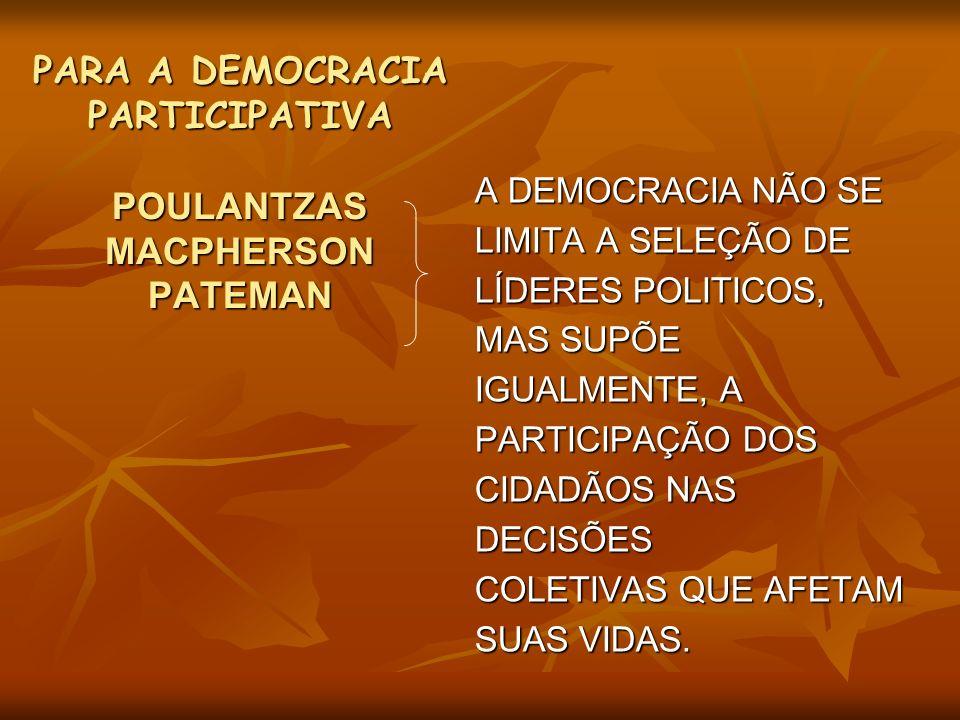 PARA A DEMOCRACIA PARTICIPATIVA POULANTZAS MACPHERSON PATEMAN A DEMOCRACIA NÃO SE LIMITA A SELEÇÃO DE LÍDERES POLITICOS, MAS SUPÕE IGUALMENTE, A PARTI