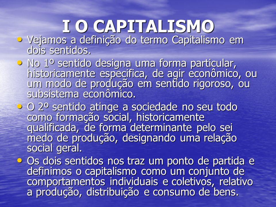 I O CAPITALISMO Vejamos a definição do termo Capitalismo em dois sentidos.