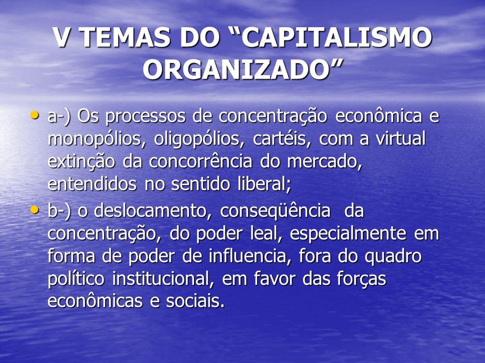 V TEMAS DO CAPITALISMO ORGANIZADO a-) Os processos de concentração econômica e monopólios, oligopólios, cartéis, com a virtual extinção da concorrência do mercado, entendidos no sentido liberal; a-) Os processos de concentração econômica e monopólios, oligopólios, cartéis, com a virtual extinção da concorrência do mercado, entendidos no sentido liberal; b-) o deslocamento, conseqüência da concentração, do poder leal, especialmente em forma de poder de influencia, fora do quadro político institucional, em favor das forças econômicas e sociais.
