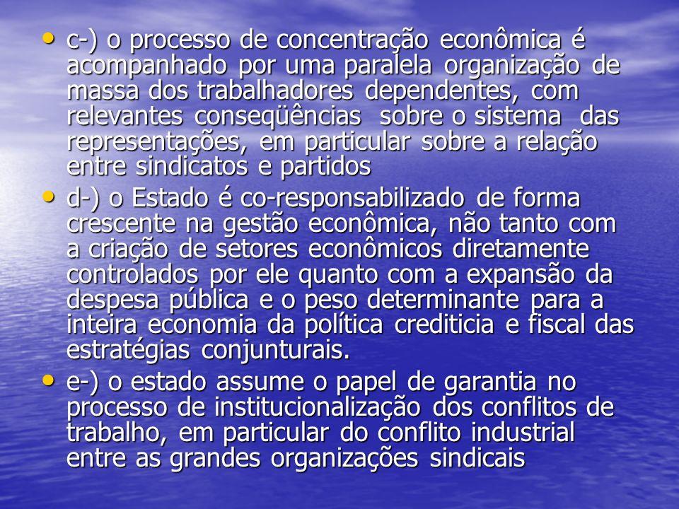 c-) o processo de concentração econômica é acompanhado por uma paralela organização de massa dos trabalhadores dependentes, com relevantes conseqüências sobre o sistema das representações, em particular sobre a relação entre sindicatos e partidos c-) o processo de concentração econômica é acompanhado por uma paralela organização de massa dos trabalhadores dependentes, com relevantes conseqüências sobre o sistema das representações, em particular sobre a relação entre sindicatos e partidos d-) o Estado é co-responsabilizado de forma crescente na gestão econômica, não tanto com a criação de setores econômicos diretamente controlados por ele quanto com a expansão da despesa pública e o peso determinante para a inteira economia da política crediticia e fiscal das estratégias conjunturais.