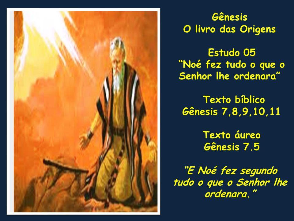 Gênesis O livro das Origens Estudo 05 Noé fez tudo o que o Senhor lhe ordenara Texto bíblico Gênesis 7,8,9,10,11 Texto áureo Gênesis 7.5 E Noé fez seg