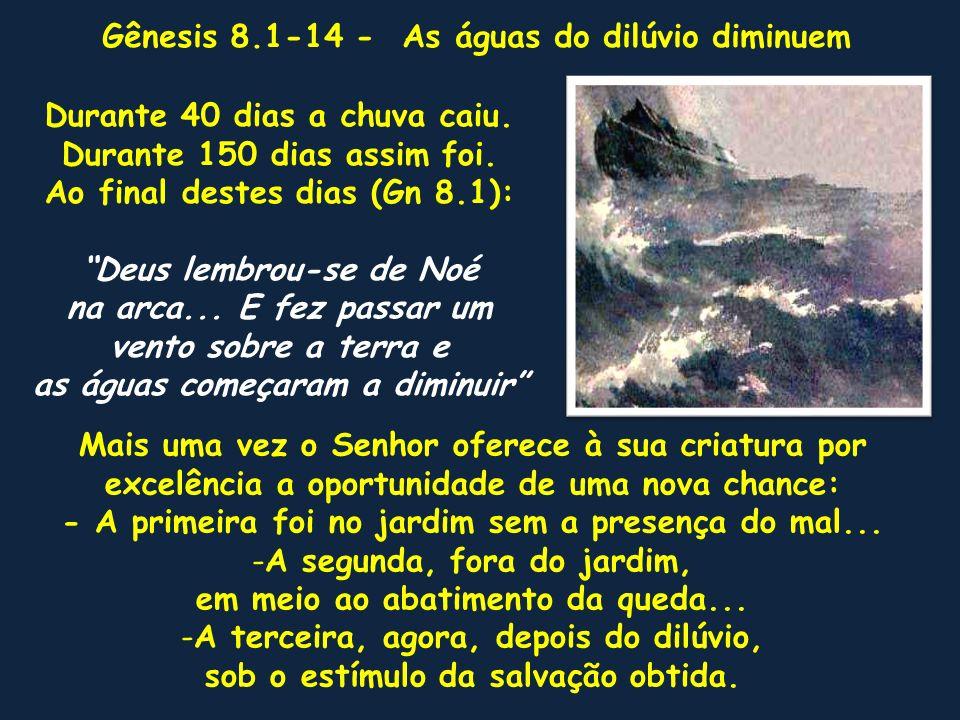 AnosCalendário Judaico Evento Texto bíblico ---------------------------------------------------------------------------------------------------------------------------------------- 500 Ano 1656 de AdãoNascem seus filhosGn 5.32 O díluvio anunciadoGn 6.13-17 ---------------------------------------------------...............................................................................................----------------- 600 Mês 2 – 17 diasComeça o dilúvioGn 7.11,17 (Marschevan – Outubro)Chove 40 diasGn 7.12 150 dias de cheiaGn 7.24 ---------------------------------------------------------------------------------------------------------------------------------------- 601Mês 7 – 17 diasA arca repousa noGn 8.4 (Nisan – Março)Monte Ararat ---------------------------------------------------------------------------------------------------------------------------------------- Mês 10 – 1 diaAparecem os cumesGn 8.5 (Tammuz – Junho)dos montes ---------------------------------------------------------------------------------------------------------------------------------------- Mês 11 – 11 diasNoé solta um corvoGn 8.6-9 (Abe – Abril)e depois uma pomba ---------------------------------------------------------------------------------------------------------------------------------------- Mês 11 – 25 diasNoé solta a pomba eGn 8.10,11 (Abe – Abril)ela torna a voltar à arca ---------------------------------------------------------------------------------------------------------------------------------------- Mês 12 – 3 diasA pomba é solta outraGn 8.12 Elul – Maio)vez e não volta mais ---------------------------------------------------------------------------------------------------------------------------------------- Mês 1 – 1 diaNoé olha e vê que aGn 8.13 (Tisri – Junho)terra estava enxuta ---------------------------------------------------------------------------------------------------------------------------------------- Mês 2 – 27 diasA terra estava secaGn 8.14 Noé deixa a arca.