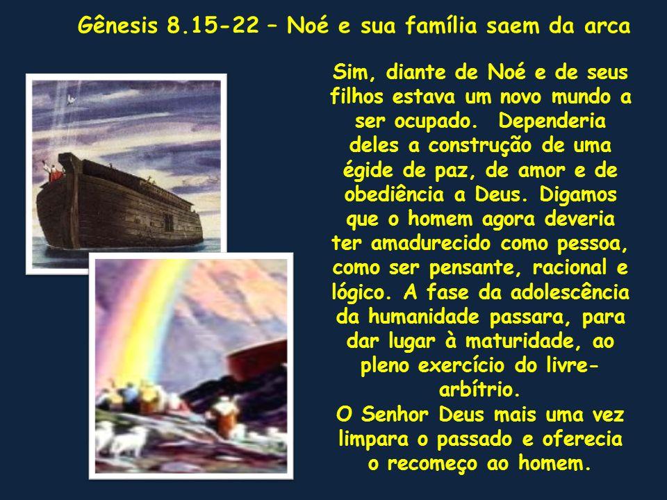 . Sim, diante de Noé e de seus filhos estava um novo mundo a ser ocupado. Dependeria deles a construção de uma égide de paz, de amor e de obediência a