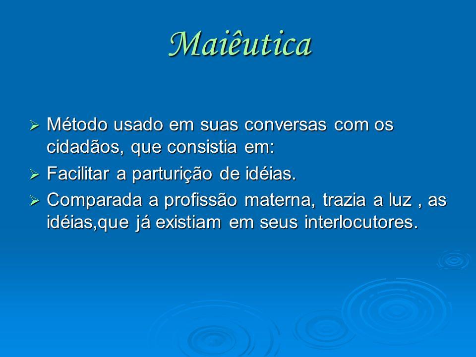 Maiêutica Método usado em suas conversas com os cidadãos, que consistia em: Método usado em suas conversas com os cidadãos, que consistia em: Facilita