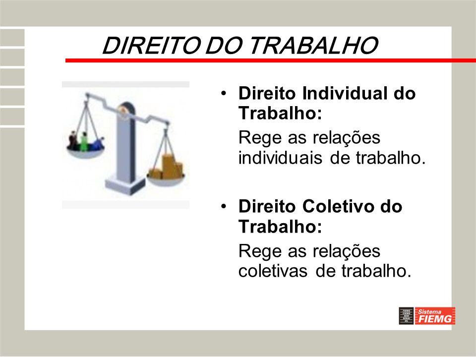 DIREITO DO TRABALHO Direito Individual do Trabalho: Rege as relações individuais de trabalho. Direito Coletivo do Trabalho: Rege as relações coletivas