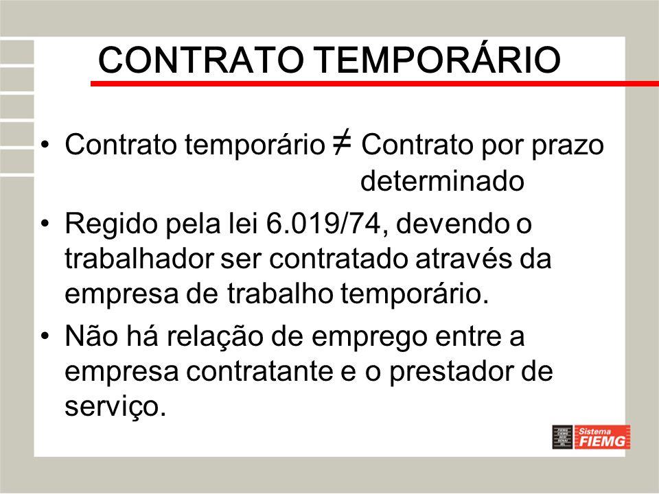 CONTRATO TEMPORÁRIO Contrato temporário Contrato por prazo determinado Regido pela lei 6.019/74, devendo o trabalhador ser contratado através da empre