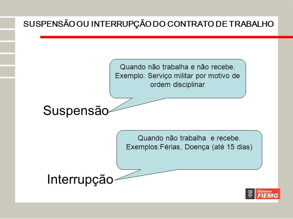 SUSPENSÃO OU INTERRUPÇÃO DO CONTRATO DE TRABALHO Suspensão Interrupção Quando não trabalha e não recebe. Exemplo: Serviço militar por motivo de ordem
