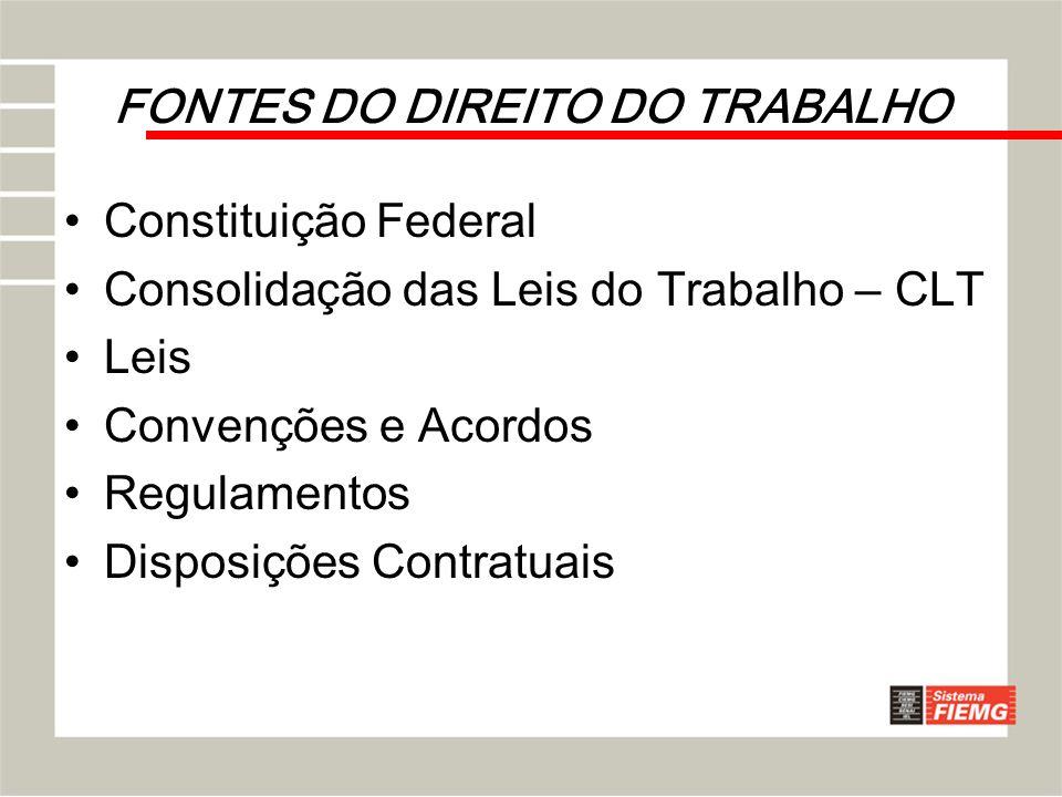 FONTES DO DIREITO DO TRABALHO Constituição Federal Consolidação das Leis do Trabalho – CLT Leis Convenções e Acordos Regulamentos Disposições Contratu