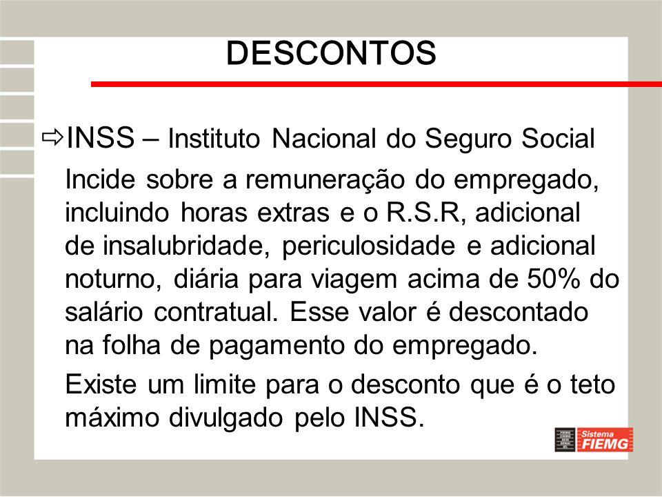 DESCONTOS INSS – Instituto Nacional do Seguro Social Incide sobre a remuneração do empregado, incluindo horas extras e o R.S.R, adicional de insalubri