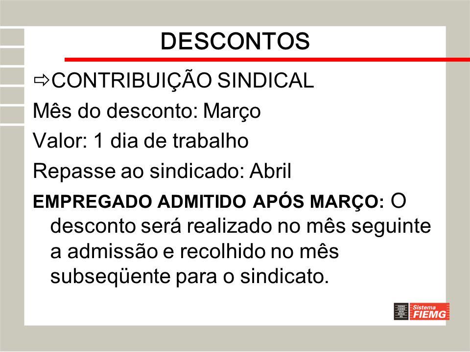 DESCONTOS CONTRIBUIÇÃO SINDICAL Mês do desconto: Março Valor: 1 dia de trabalho Repasse ao sindicado: Abril EMPREGADO ADMITIDO APÓS MARÇO: O desconto