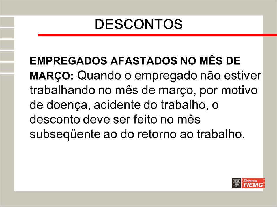 DESCONTOS EMPREGADOS AFASTADOS NO MÊS DE MARÇO: Quando o empregado não estiver trabalhando no mês de março, por motivo de doença, acidente do trabalho