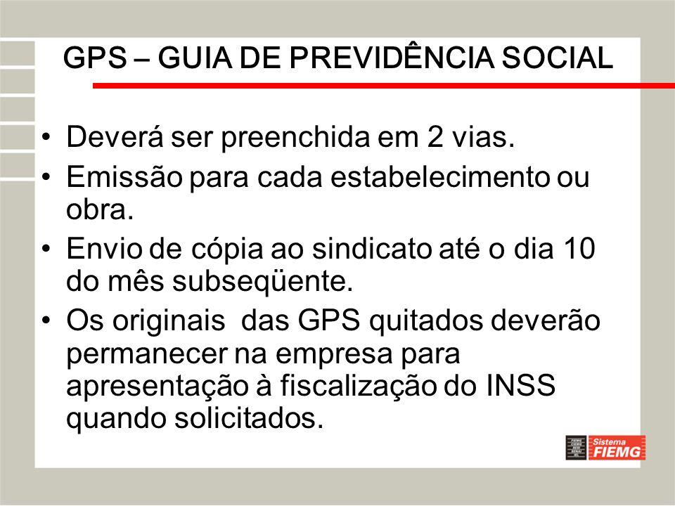 GPS – GUIA DE PREVIDÊNCIA SOCIAL Deverá ser preenchida em 2 vias. Emissão para cada estabelecimento ou obra. Envio de cópia ao sindicato até o dia 10