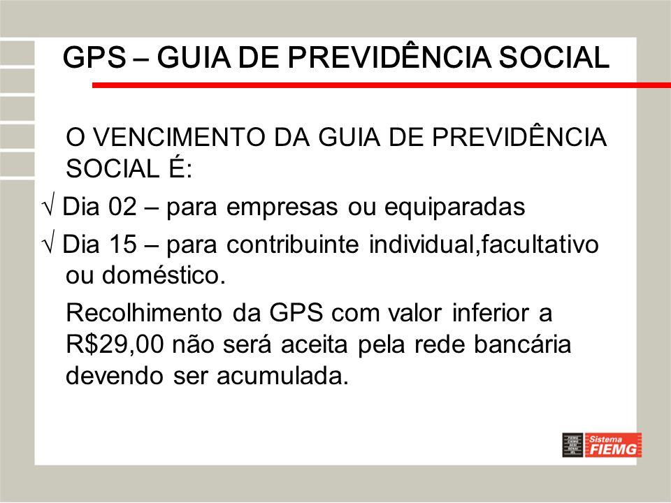 GPS – GUIA DE PREVIDÊNCIA SOCIAL O VENCIMENTO DA GUIA DE PREVIDÊNCIA SOCIAL É: Dia 02 – para empresas ou equiparadas Dia 15 – para contribuinte indivi
