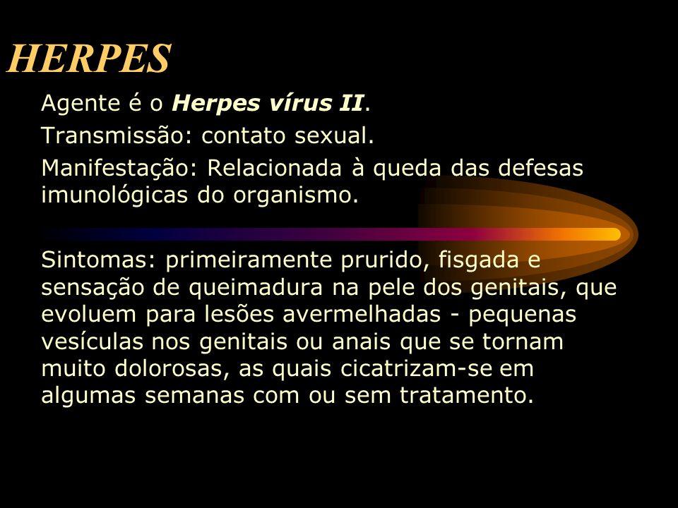 HERPES Agente é o Herpes vírus II. Transmissão: contato sexual. Manifestação: Relacionada à queda das defesas imunológicas do organismo. Sintomas: pri