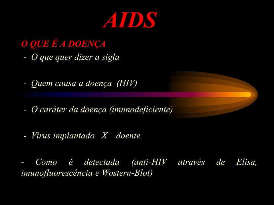 AIDS O QUE É A DOENÇA - O que quer dizer a sigla - Quem causa a doença (HIV) - O caráter da doença (imunodeficiente) - Vírus implantado X doente - Com