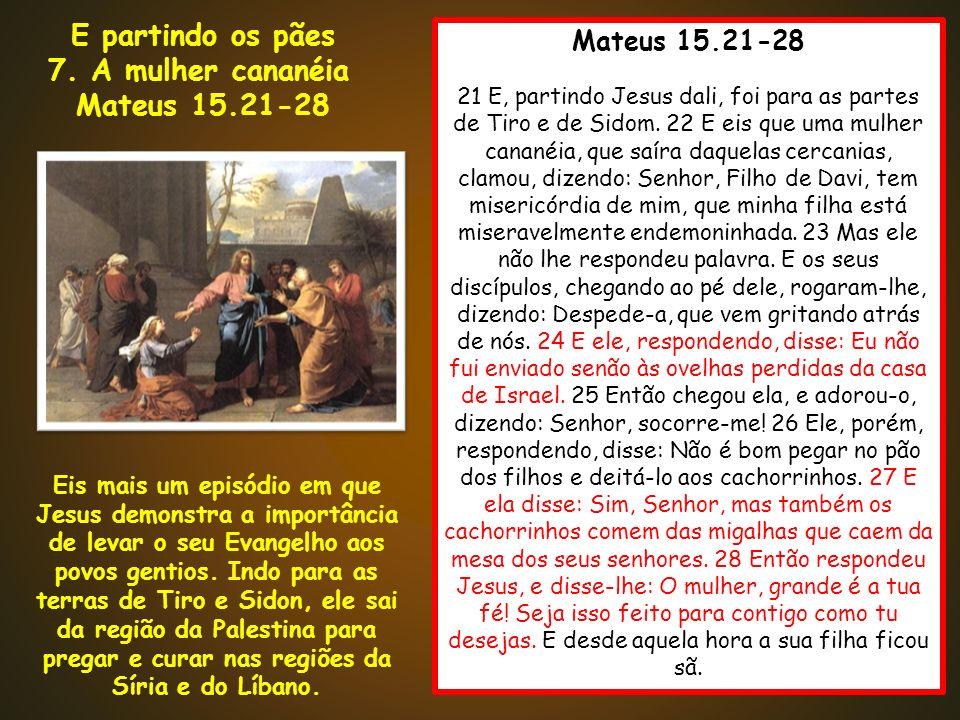 Mateus 15.21-28 21 E, partindo Jesus dali, foi para as partes de Tiro e de Sidom. 22 E eis que uma mulher cananéia, que saíra daquelas cercanias, clam