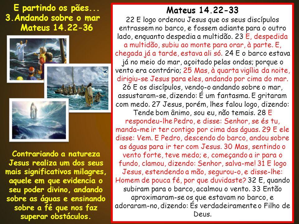Mateus 14.22-33 22 E logo ordenou Jesus que os seus discípulos entrassem no barco, e fossem adiante para o outro lado, enquanto despedia a multidão. 2