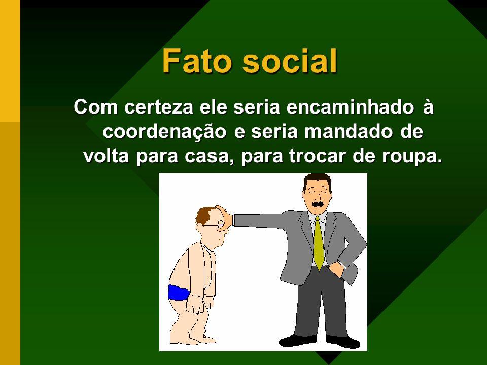 Fato social Existe um modo de vestir que é comum, que todos seguem e não é estabelecido pelo indivíduo.