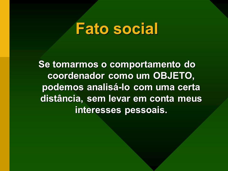 Fato social Determinados comportamentos se repetem, independentes da instituição de ensino.