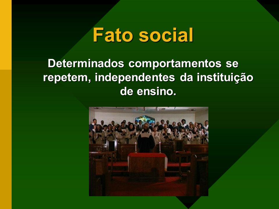 Fato social Para Durkheim, depois de identificar o FATO SOCIAL e observá-lo, podemos determinar as regras que norteiam certos comportamentos.
