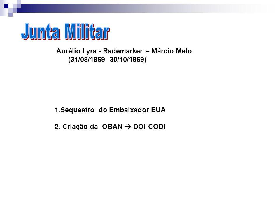 Aurélio Lyra - Rademarker – Márcio Melo (31/08/1969- 30/10/1969) 1.Sequestro do Embaixador EUA 2. Criação da OBAN DOI-CODI