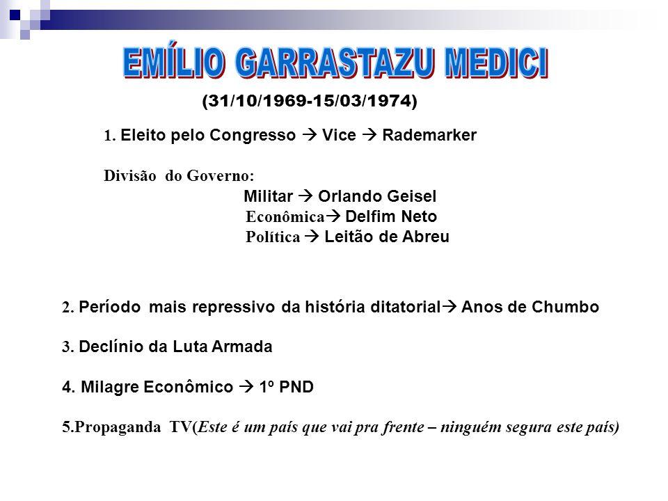 (31/10/1969-15/03/1974) 1. Eleito pelo Congresso Vice Rademarker Divisão do Governo: Militar Orlando Geisel Econômica Delfim Neto Política Leitão de A