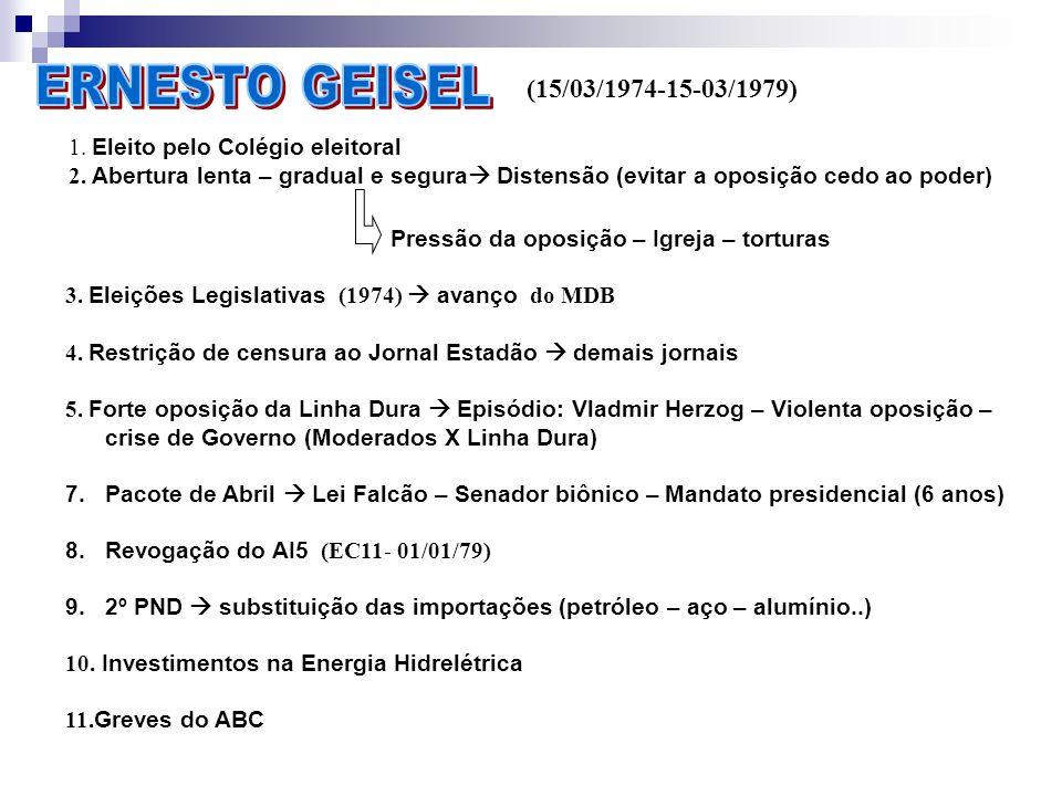 (15/03/1979-15/03/1985) 1.Eleito pelo Colégio Eleitoral Vice: Aureliano Chaves 2.