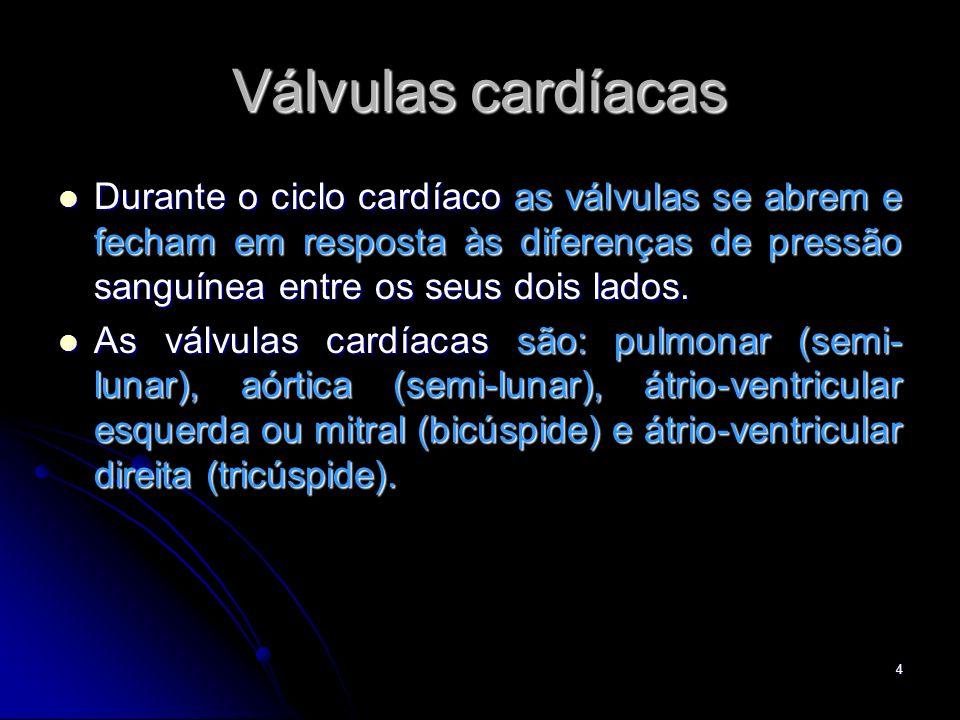 4 Válvulas cardíacas Durante o ciclo cardíaco as válvulas se abrem e fecham em resposta às diferenças de pressão sanguínea entre os seus dois lados. D
