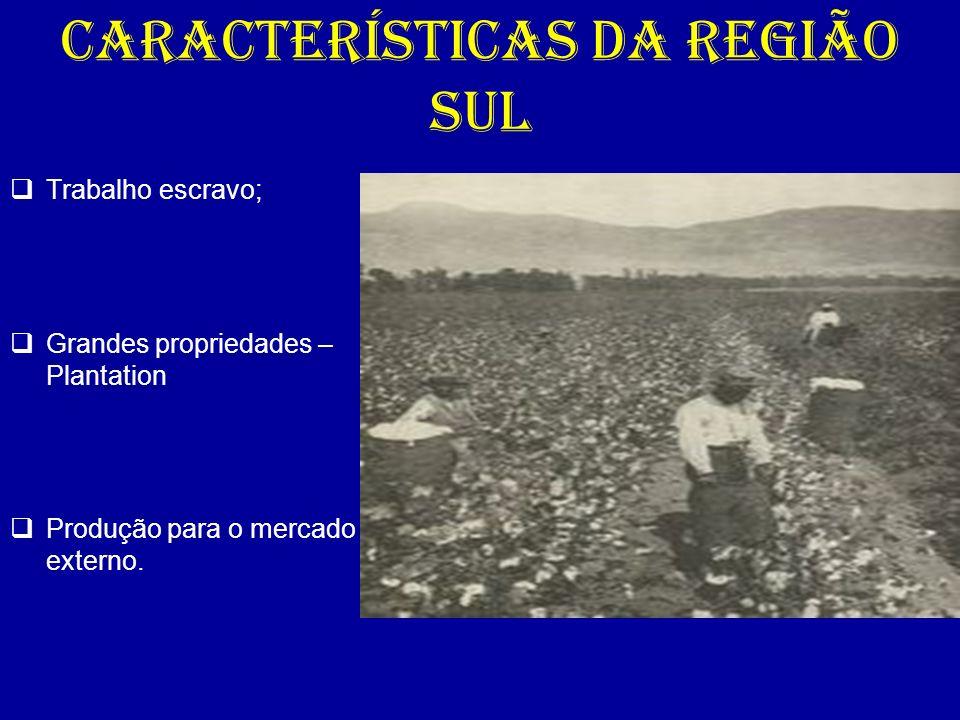 CARACTERÍSTICAS DA REGIÃO SUL Trabalho escravo; Grandes propriedades – Plantation Produção para o mercado externo.