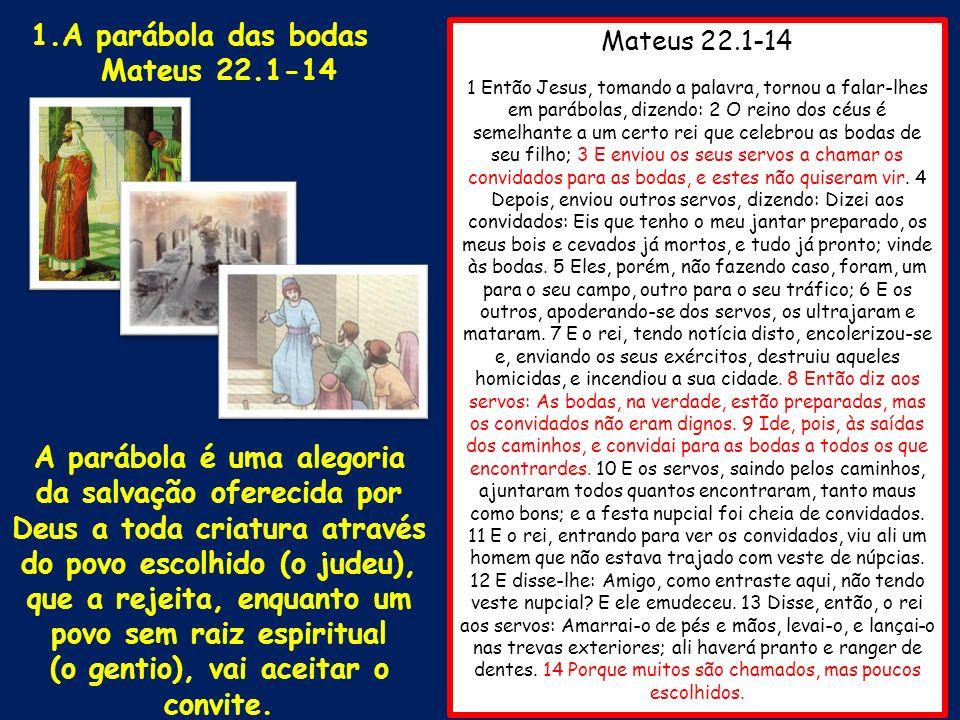 Mateus 22.1-14 1 Então Jesus, tomando a palavra, tornou a falar-lhes em parábolas, dizendo: 2 O reino dos céus é semelhante a um certo rei que celebro