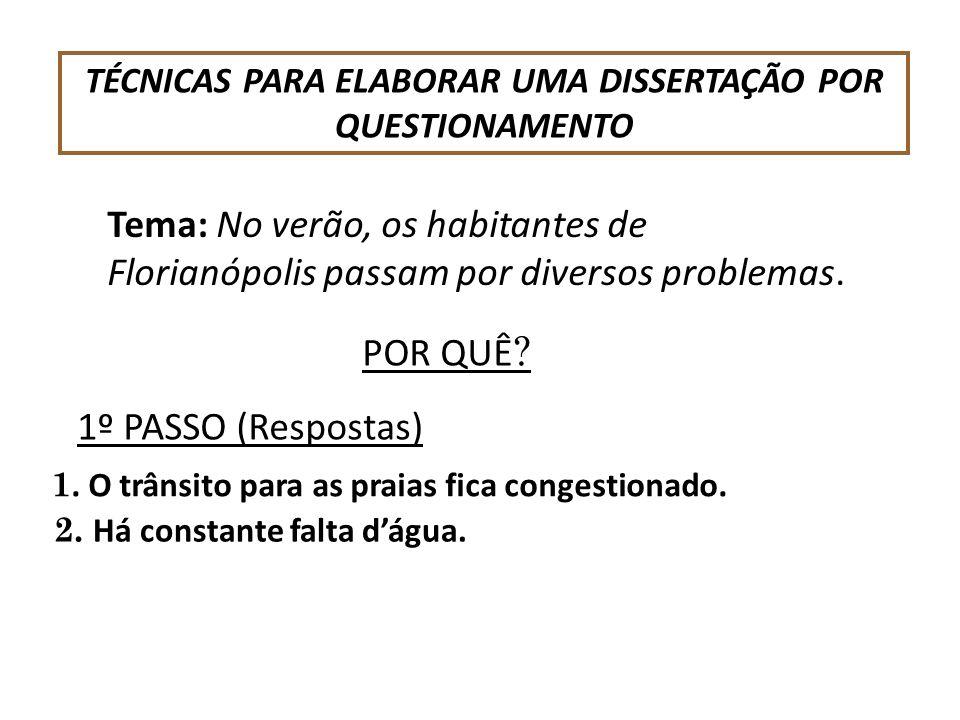 TÉCNICAS PARA ELABORAR UMA DISSERTAÇÃO POR QUESTIONAMENTO Tema: No verão, os habitantes de Florianópolis passam por diversos problemas. POR QUÊ ? 1. O