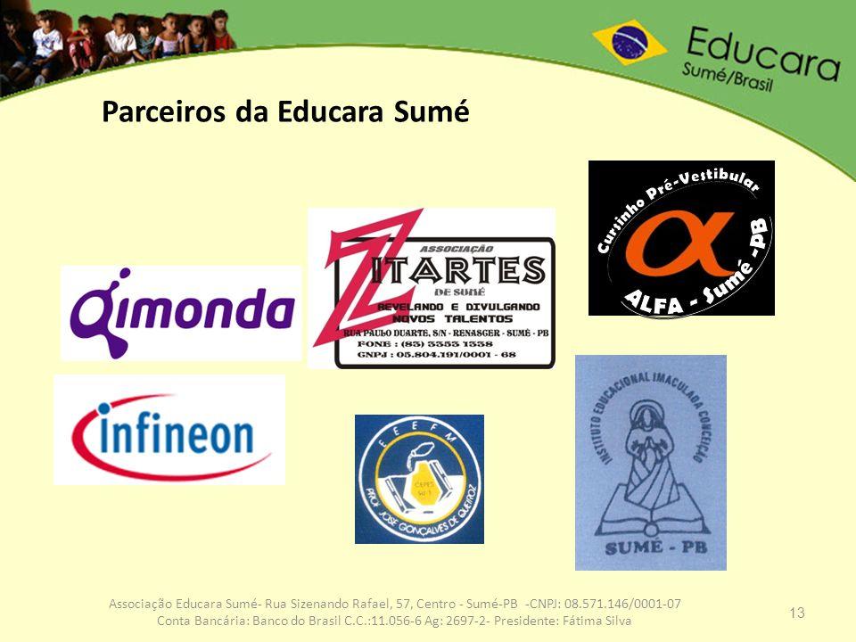 13 Associação Educara Sumé- Rua Sizenando Rafael, 57, Centro - Sumé-PB -CNPJ: 08.571.146/0001-07 Conta Bancária: Banco do Brasil C.C.:11.056-6 Ag: 269