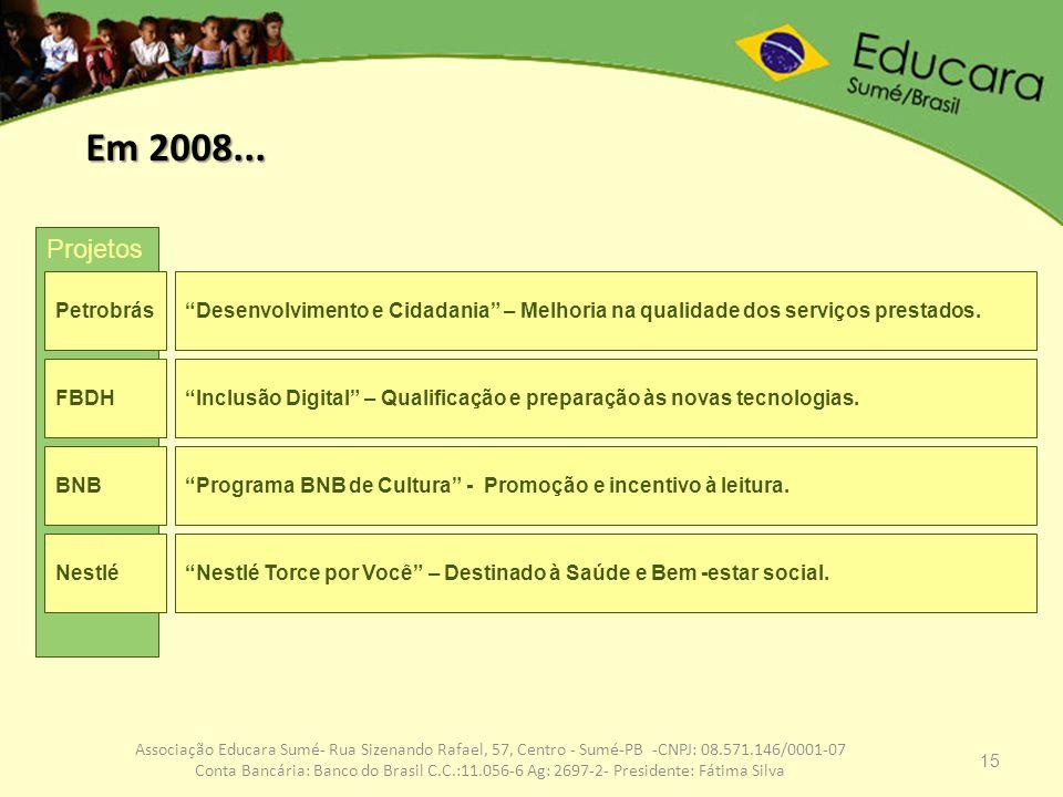 15 Associação Educara Sumé- Rua Sizenando Rafael, 57, Centro - Sumé-PB -CNPJ: 08.571.146/0001-07 Conta Bancária: Banco do Brasil C.C.:11.056-6 Ag: 269
