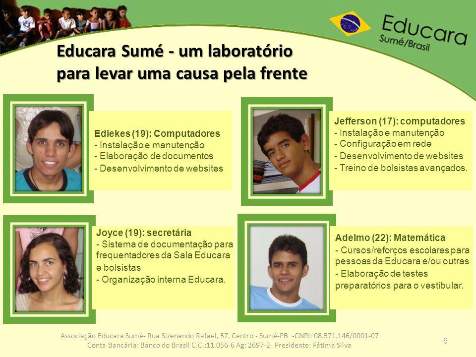 6 Associação Educara Sumé- Rua Sizenando Rafael, 57, Centro - Sumé-PB -CNPJ: 08.571.146/0001-07 Conta Bancária: Banco do Brasil C.C.:11.056-6 Ag: 2697