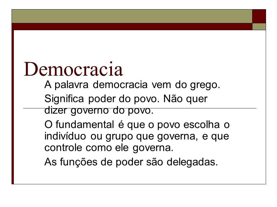 Democracia A palavra democracia vem do grego. Significa poder do povo. Não quer dizer governo do povo. O fundamental é que o povo escolha o indivíduo