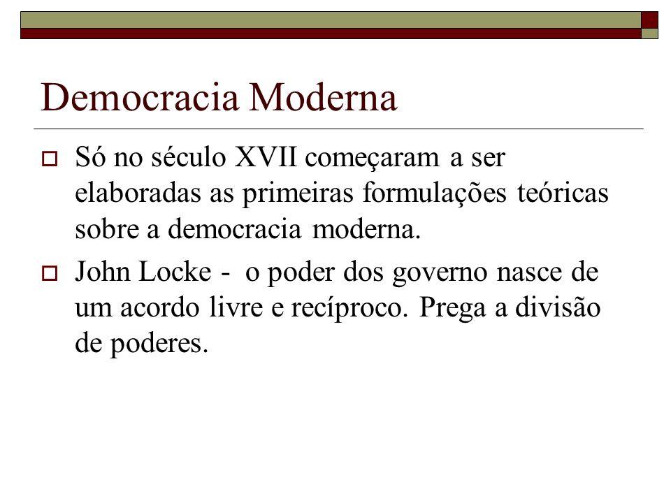 Democracia Moderna Só no século XVII começaram a ser elaboradas as primeiras formulações teóricas sobre a democracia moderna. John Locke - o poder dos
