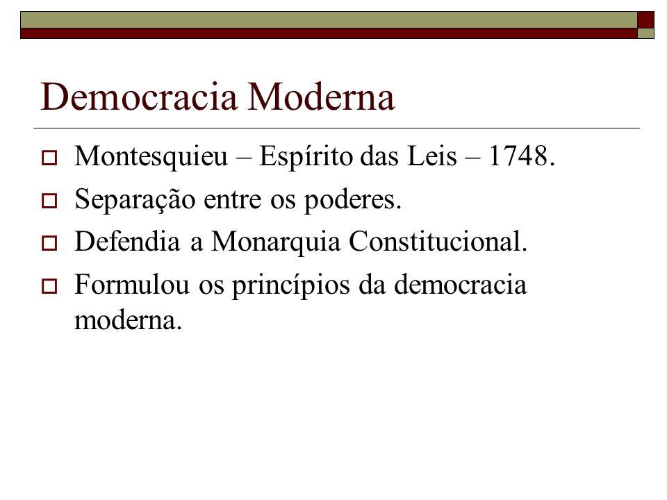Democracia Moderna Montesquieu – Espírito das Leis – 1748. Separação entre os poderes. Defendia a Monarquia Constitucional. Formulou os princípios da