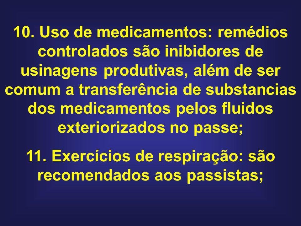 10. Uso de medicamentos: remédios controlados são inibidores de usinagens produtivas, além de ser comum a transferência de substancias dos medicamento