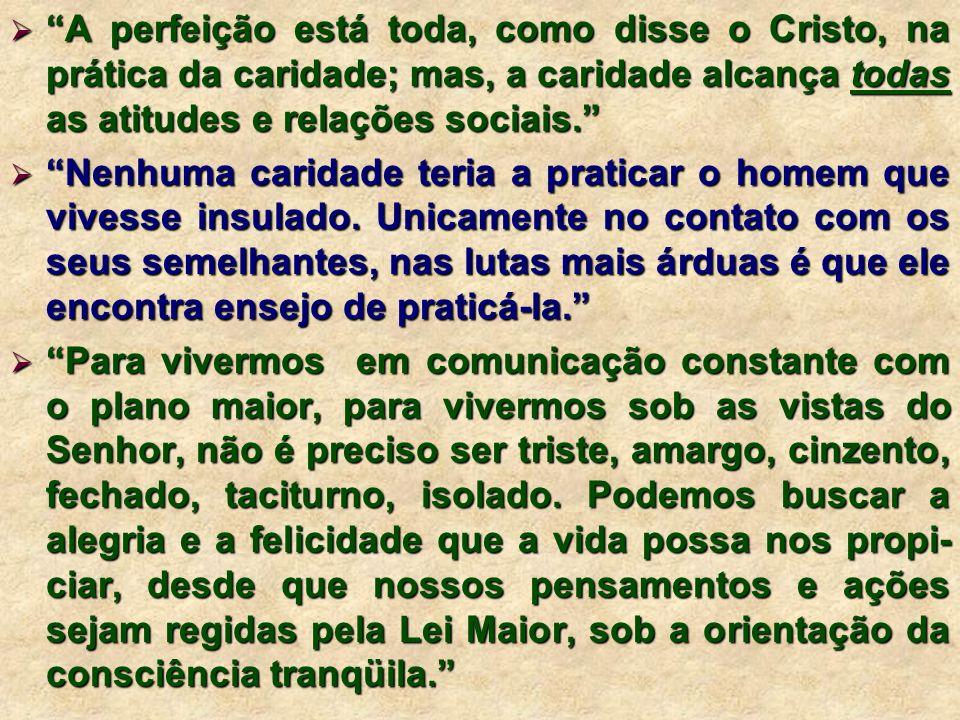 A perfeição está toda, como disse o Cristo, na prática da caridade; mas, a caridade alcança todas as atitudes e relações sociais. A perfeição está tod