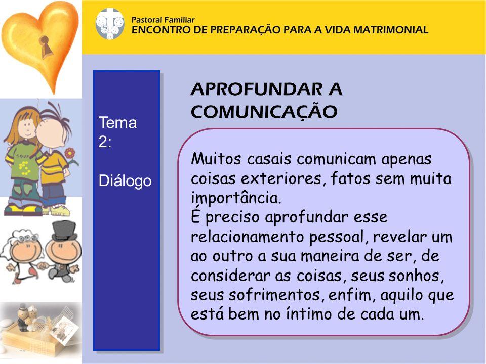 APROFUNDAR A COMUNICAÇÃO Muitos casais comunicam apenas coisas exteriores, fatos sem muita importância.