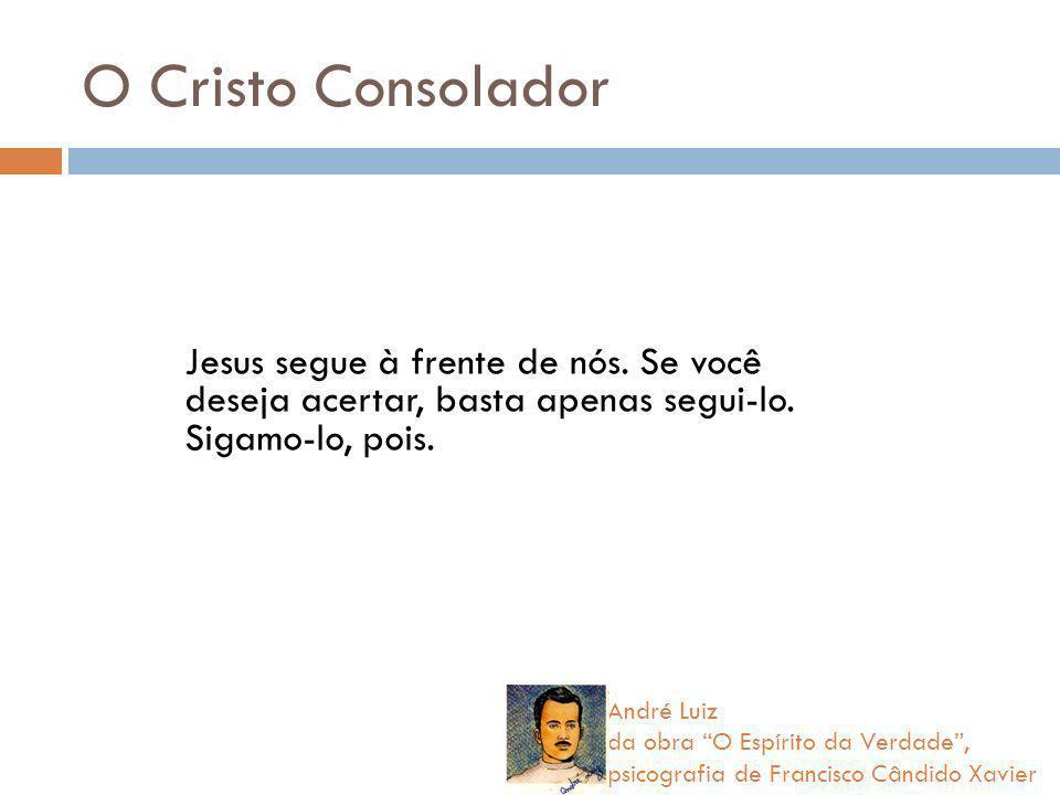 O Cristo Consolador Jesus segue à frente de nós. Se você deseja acertar, basta apenas segui-lo. Sigamo-lo, pois. André Luiz da obra O Espírito da Verd