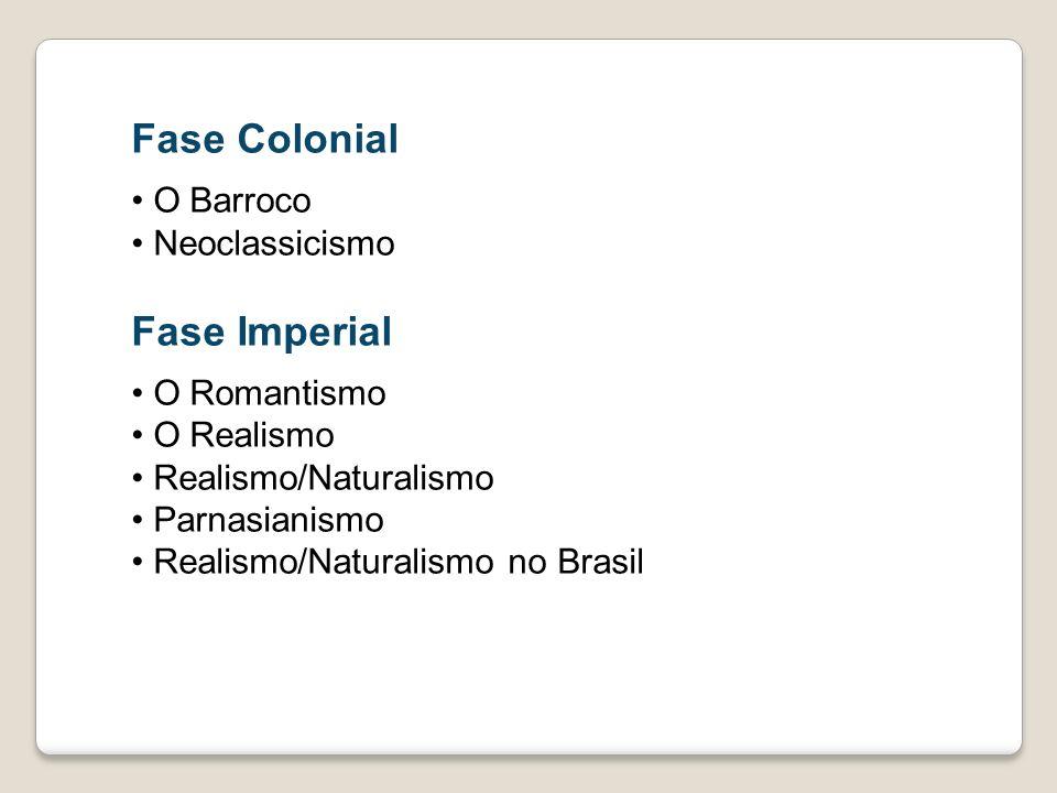 Fase Colonial O Barroco Neoclassicismo Fase Imperial O Romantismo O Realismo Realismo/Naturalismo Parnasianismo Realismo/Naturalismo no Brasil