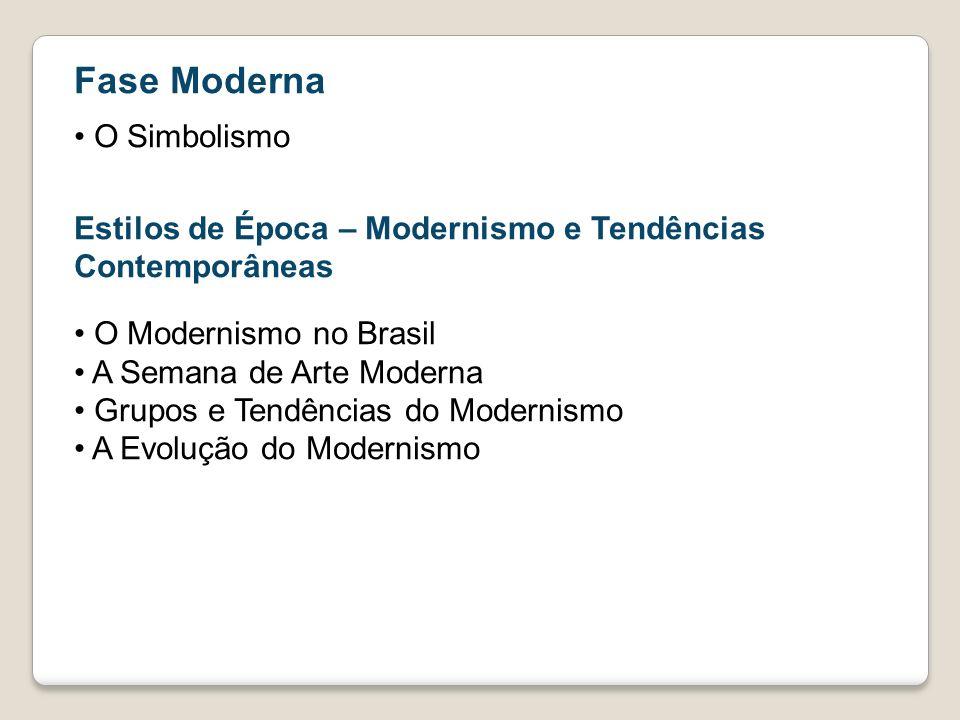 Fase Moderna O Simbolismo Estilos de Época – Modernismo e Tendências Contemporâneas O Modernismo no Brasil A Semana de Arte Moderna Grupos e Tendência