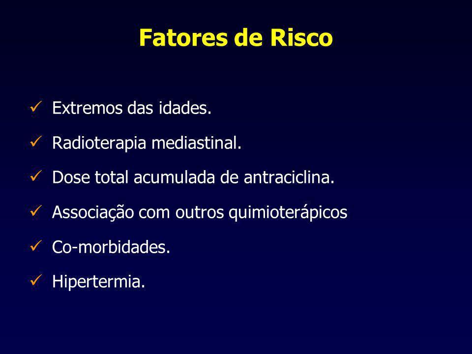 Fatores de Risco Extremos das idades. Radioterapia mediastinal. Dose total acumulada de antraciclina. Associação com outros quimioterápicos Co-morbida